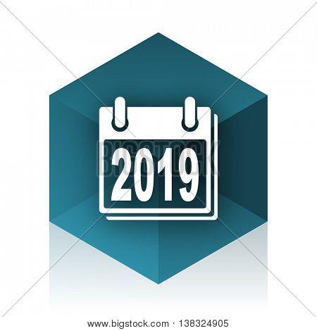 new year 2019 blue cube icon, modern design web element