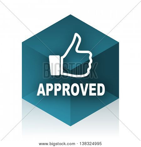 approved blue cube icon, modern design web element