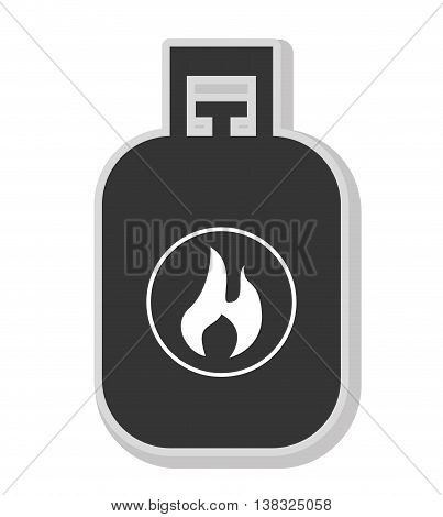 Gas pipe in black and white colors isolated flat icon, vector illustration.