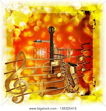 Vector illustration of musical background treble clef a saxophone and guitar against a bright background with flares and sparks.