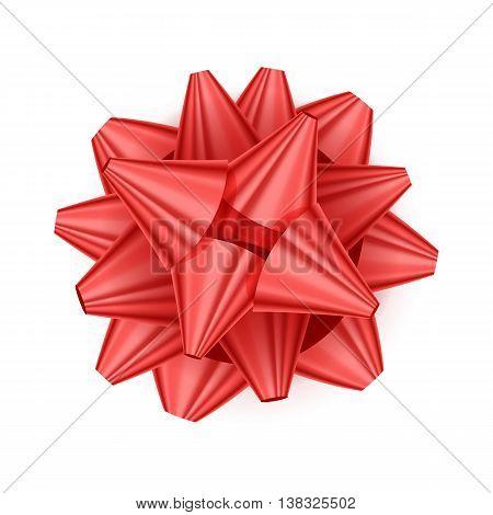 Gift bow realistic vector illustration. Red ribbon present box decoration. Good for birthday, christmas celebration design.