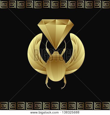 Vector illustration egyptian golden scarab beetle. Symbol of the sun.