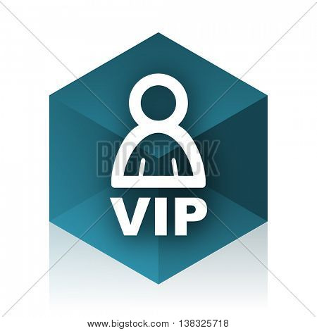 vip blue cube icon, modern design web element