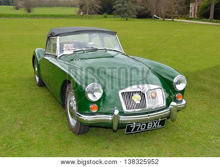Saffron Walden, Essex, England - April 24, 2016: Classic green MG A Sports motor car.