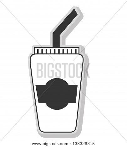 Delicious and fresh cofee cup, black and white isolated flat icon.