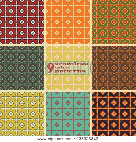 Set of 9 seamless retro patterns with flowers. Elegant simple floral ornaments in folk style. Cute variegated prints in vintage colors. Vector illustration for fashion design