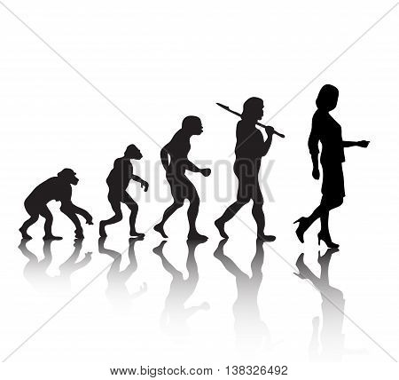 Human evolution. Women's evolution. Silhouette on a white background. Vector illustration