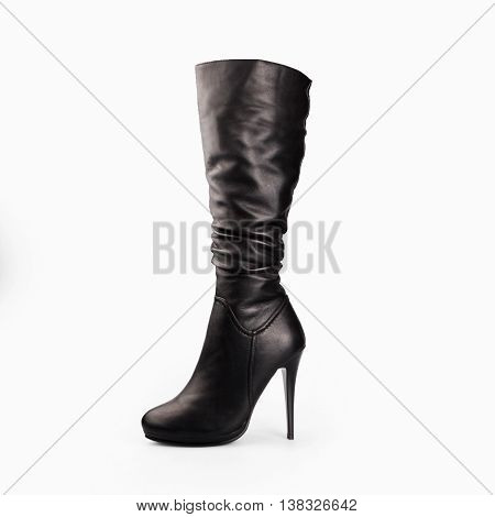Female Black Boots Over White