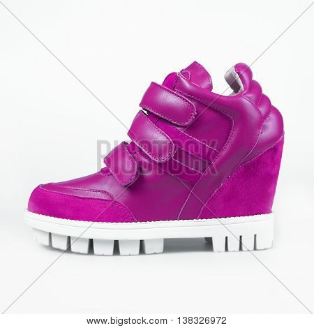 Purple Leather Platform Sneaker