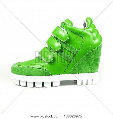 Green Leather Platform Sneaker