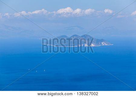 Beautiful Greek Islands. A sailing boats in the Ionian Sea.