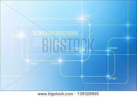 Vector abstract technology background with communication, future concept - square with round corners, rectangular and lighting effects on blue blurred mesh - website banner.