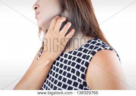 Woman scratch the itch with hand neck itching Concept with Healthcare And Medicine.