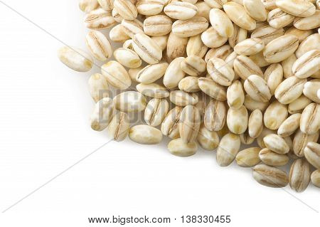 Group of Pearl barley close up on the white