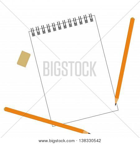 notebook, eraser and two pencils. preparation for painting. vector illustration.
