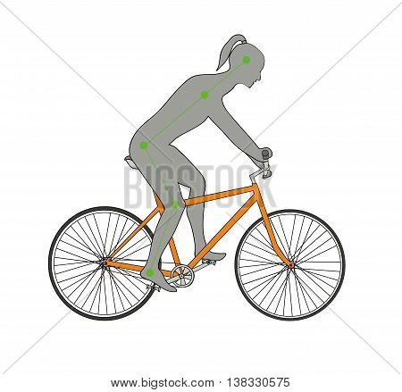 correct posture for bicycling in the background. vector illustration