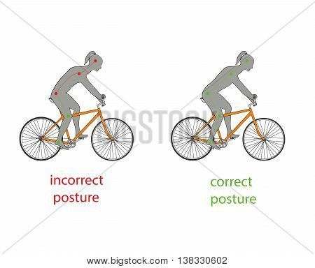 correct posture while riding a bicycle. vector illustration