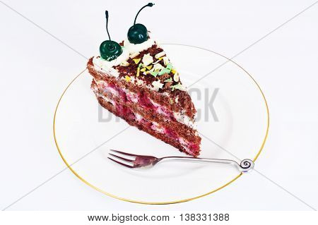 Schwarzwald Cake, Whipped Cream, Black and White Chocolate, Decoration, Green Cocktail Cherry
