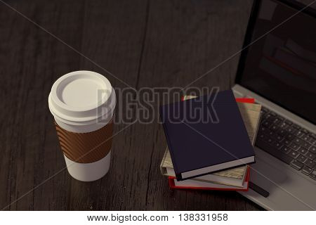 3D rendering of Takeaway coffee laptop and books on a wooden table