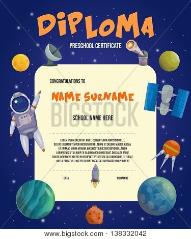 Colored space universe card or diploma preschool certificate on theme of space vector illustration