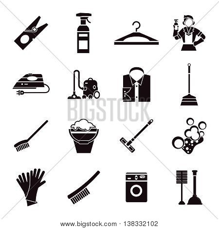 Cleaning black icon set with special tools for washing of premises on white background vector illustration