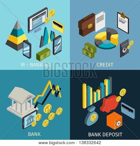 Atm isometric icon set with descriptions of m banking credit bank and bank deposit vector illustration