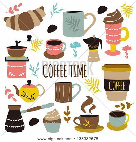 Coffee time hand drawn design with brown title retro grinder pots cups  roasted beans herbs vector illustration