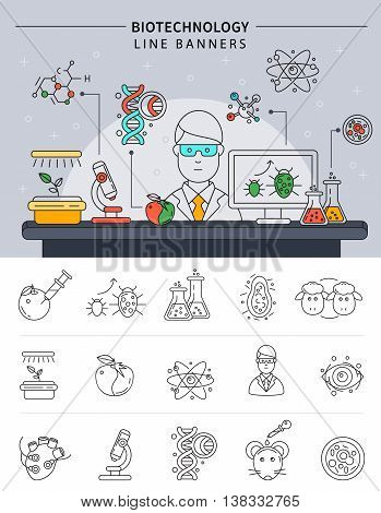 Biotechnology banner set in linear style scientist conducting experiments in his laboratory at work vector illustration