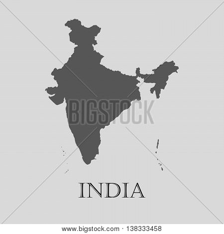 Gray India map on light grey background. Gray India map - vector illustration.