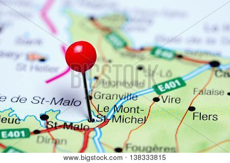 Le Mont-St-Michel pinned on a map of France
