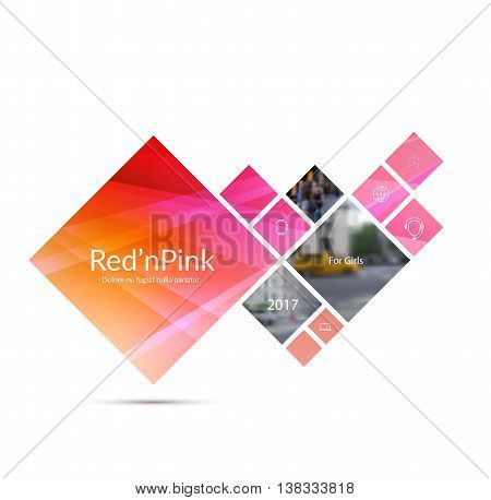 Vector Design Element for graphic layout. Abstract background template with red pink squares and arrow for business and communication in flat style with mosaic connection concept. Modern poster.