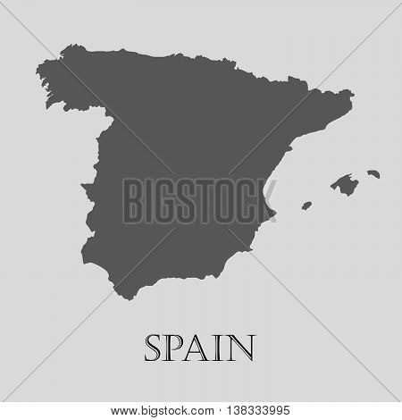 Gray Spain map on light grey background. Gray Spain map - vector illustration.