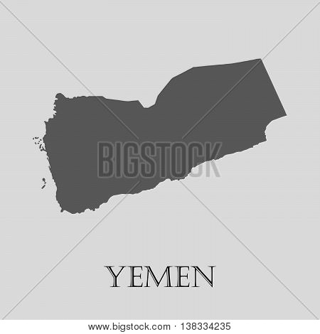 Gray Yemen map on light grey background. Gray Yemen map - vector illustration.