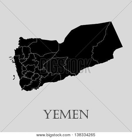 Black Yemen map on light grey background. Black Yemen map - vector illustration.