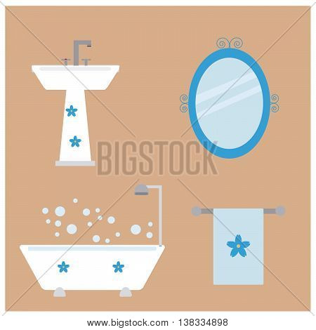 Bathroom ceramic, washbasin, bath, mirror, and accessory for bath towel, everything to set with a beautiful flower.