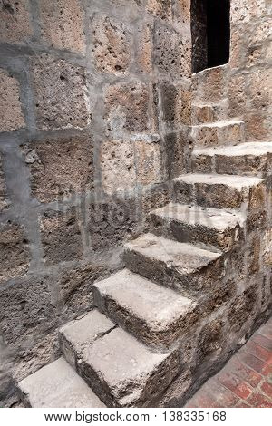 ancient stone staircase in an old house