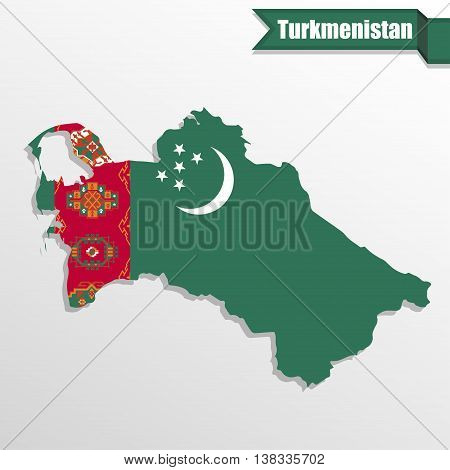 Turkmenistan map with flag inside and ribbon