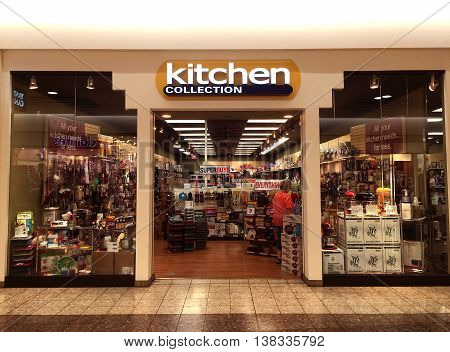 RIVER FALLS,WISCONSIN-JULY 13,2016: The Kitchen Collection sign and storefront. Kitchen Collection has a wide variety of small appliances and accessories for home use.