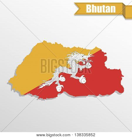 Bhutan map with flag inside and ribbon