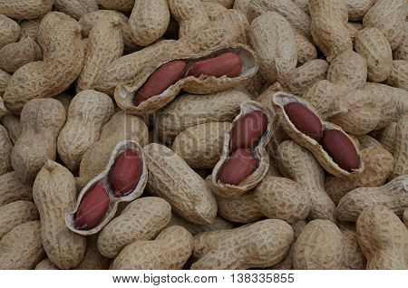 open peanuts lie on peanuts in the shell