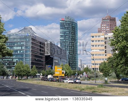 BERLIN GERMANY - JULY 7 2016: dome and towers at Potsdamer Platz in Berlin Germany