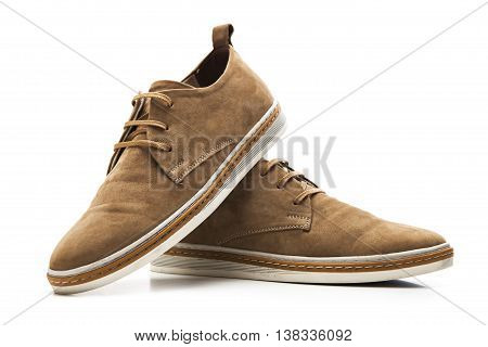 Brown male shoes isolated on white backgrorund