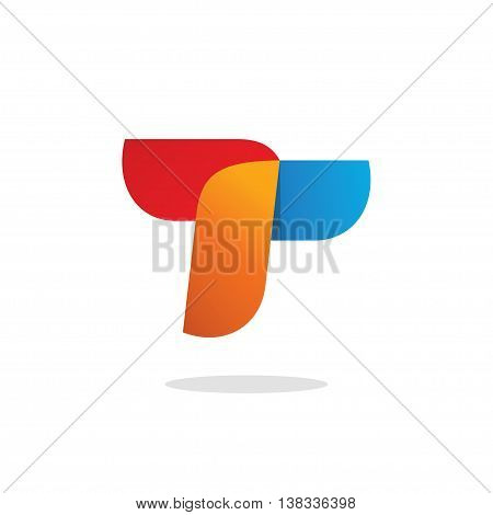 Abstract colorful letter T or R logo vector design, leaves style, elegant beauty geometric logotype isolated on white background, red orange blue colors