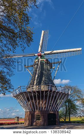 old mill in Keukenhof garden in Netherlands