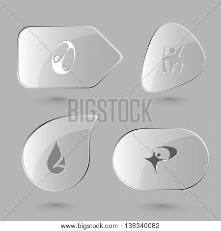 4 images: abstract skydiver, little man, drop. Abstract set. Glass buttons on gray background. Vector icons.