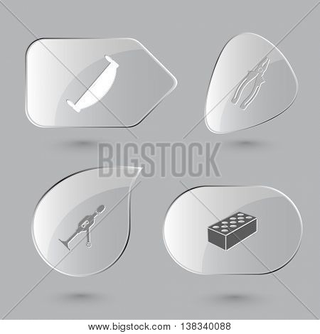 4 images: two-handled saw, pliers, hand drill, hollow brick. Industrial tools set. Glass buttons on gray background. Vector icons.