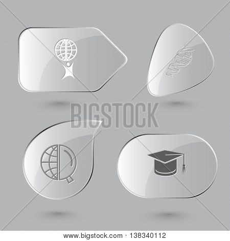 4 images: little man with globe, dna, and magnifying glass, graduation cap. Science set. Glass buttons on gray background. Vector icons.