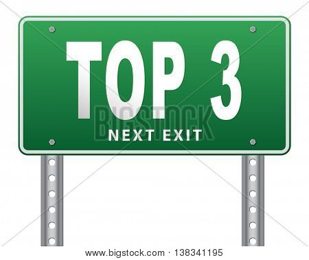 top 3 charts list pop poll result and award winners chart ranking music hits best top three quality rating prize winner road sign billboard, 3D illustration, isolated, on white