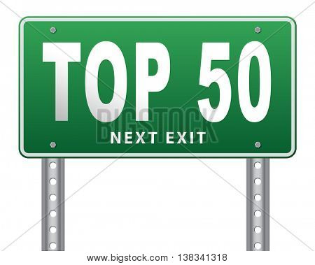 top 50 charts list pop poll result and award winners chart ranking music hits best top fifty quality rating prize winner road sign, 3D illustration, isolated, on white