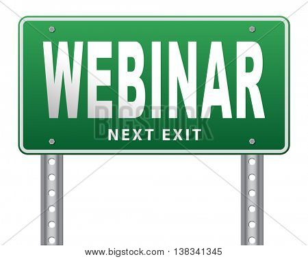 webinar online conference internet web meeting or workshop live video chat, 3D illustration, isolated, on white